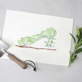 Giclee Print - Brussels Sprout vegetable ShoeIllustration