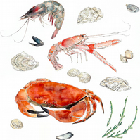 Seafood- A3 Giclee Print of an Original Blotted Line Illustration