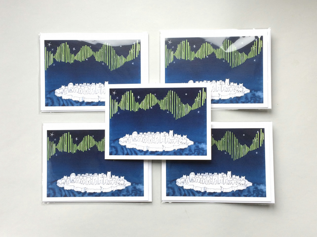 Aurora of Polar Bears - Set of Five Blank Greetings Cards