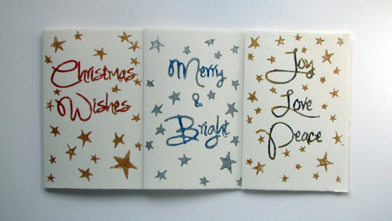 Set of 3 Lino Print Cards. Christmas Wishes - Merry & Bright - Joy, Love, Peace