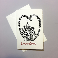 Anniversary Card - Love Cats - Hand Printed Linocut, Romantic Card