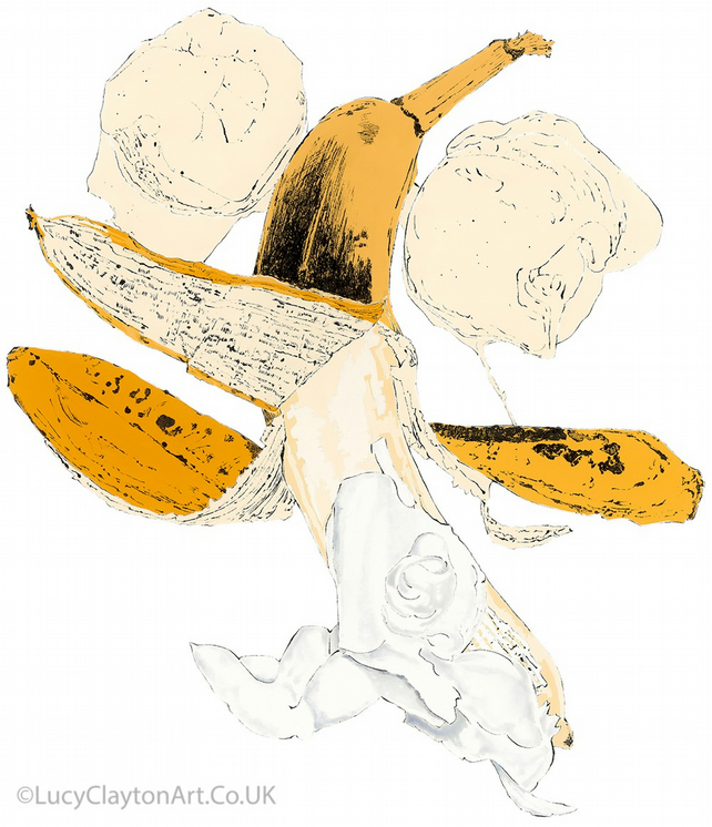 Banana - Giclee print of an original blotted line illustration