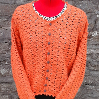 Exclusive Crochet Cardigan with Lace Shell Pattern