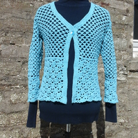 Ladies Crocheted Single Button Front Cardigan