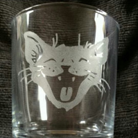 Laughing Cat Etched Glass Tumbler