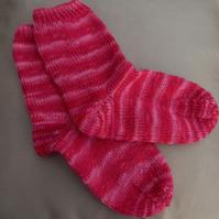 40% off Hand knitted pink children's socks, age 6-7 years, size UK 13, Eur 32