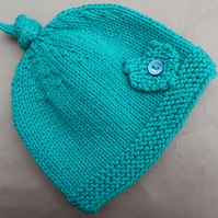 Hand Knitted Baby Beanie Hat green, age 6 months