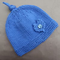 Hand Knitted blue Baby Beanie Hat, age 6 months