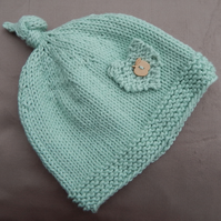 Hand Knitted green Baby Beanie Hat, age 6 months