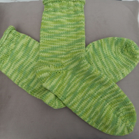 Hand Knitted Socks in 50% Cotton, 50% Acrylic yarn, lime green , size medium