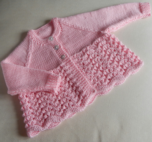 Vintage style baby cardigan newborn - hand knitted in Soft Acrylic DK yarn, pink