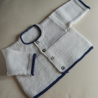 Baby Cardigan newborn - hand knitted in baby merino wool DK yarn - cream navy