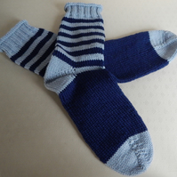 Hand Knitted Socks in 100% wool yarn, blue stripes, size large