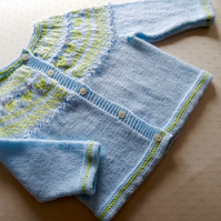 Child's  Cardigan - 2-3 years - fair isle yolk with beads. Hand knitted in DK ba
