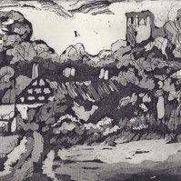 Osmaston by Barbara Smith - acrylic resist etching aquatint