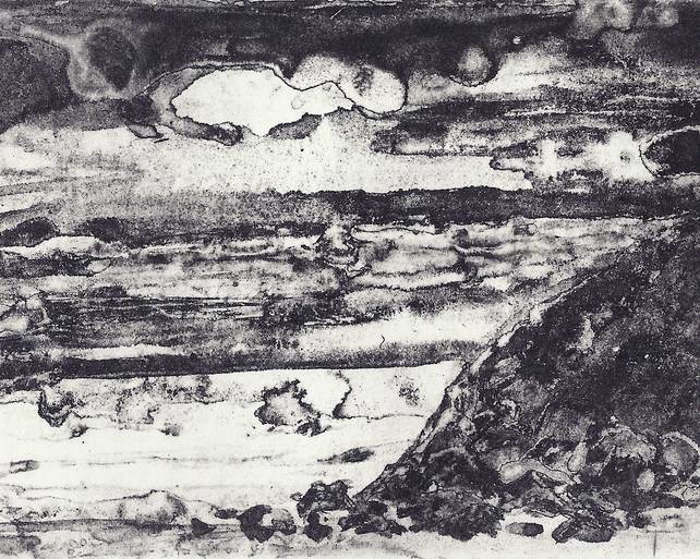 Rocky Shore by Barbara Smith - photopolymer etching photographic