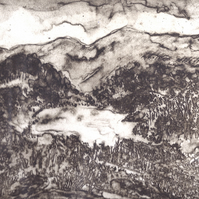 Bryn Gwynant by Barbara Smith - photopolymer etching photographic