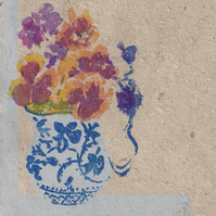 Pansy Vase by Barbara Smith - screen print serigraph