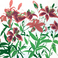 Lillies by Barbara Smith - screen print serigraph