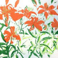 Orange Lillies by Barbara Smith - screen print serigraph