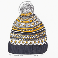 Woolly Hat by Pandora Johnson - Screen Print