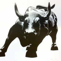Bull by Raj Sahota - screen print serigraph