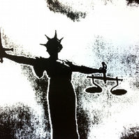 Justice – Black and White by Raj Sahota - screen print serigraph