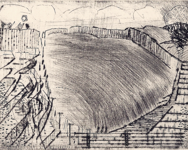 Hill by Alan Jenkins - drypoint on copper