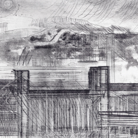 Foundscape by Alan Jenkins - drypoint on zinc