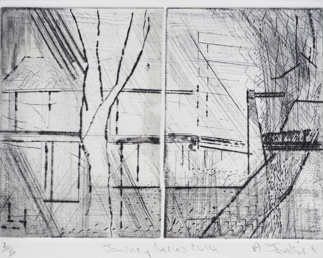 Journey Series 2014 by Alan Jenkins - drypoint on copper