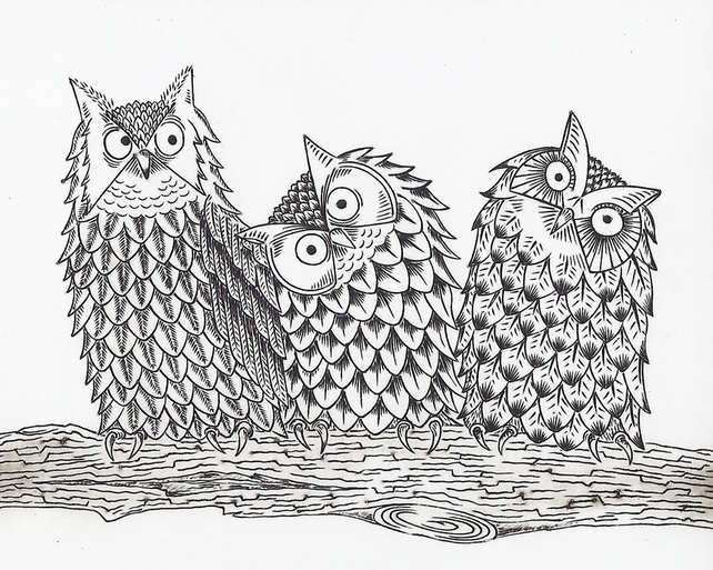 What a Hoot by Richard Whyles - Copper Plate Engraving