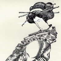 Geisha by Richard Whyles - Copper Plate Engraving