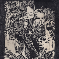 The Kiss by Kevin A. Pickering - Woodcut