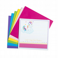 Personalised Rainbow Unicorn Notecards