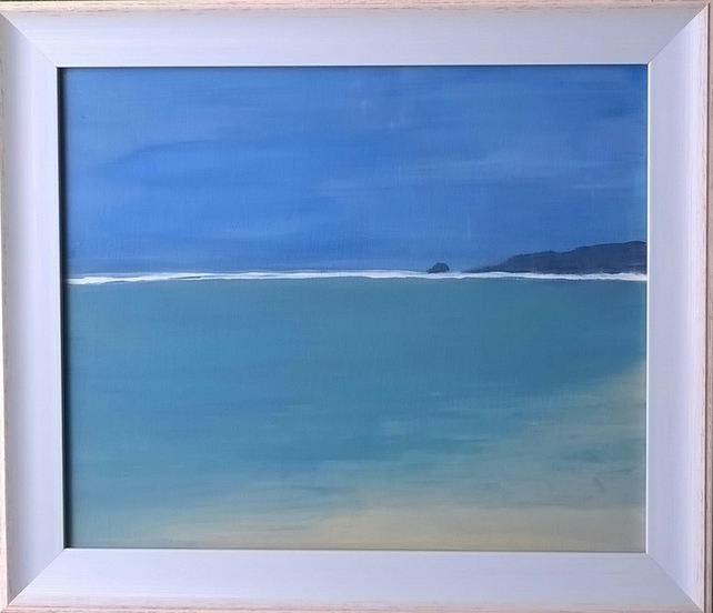Perranporth towards Holywell Bay - original acrylic painting