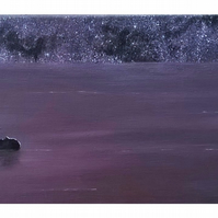 Red sky at night - stargazing swimmers original art