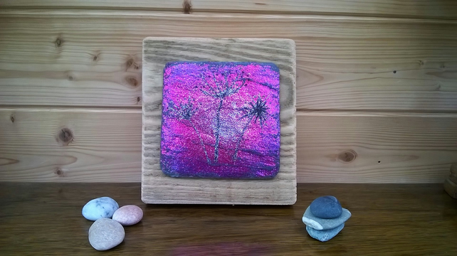 Dried seed head glitter art on reclaimed slate and timber