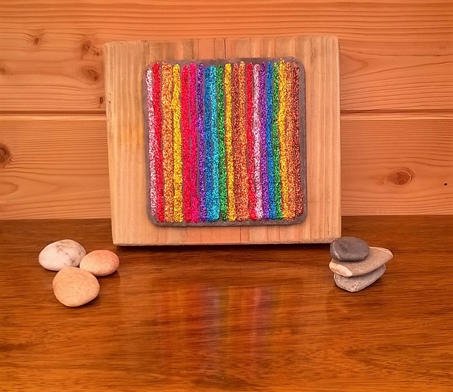 SOLD - Funky chunky rainbow glitter art on reclaimed slate and timber