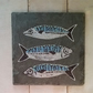 Cornish mackerel glitter wall art on reclaimed slate and whitewashed wood