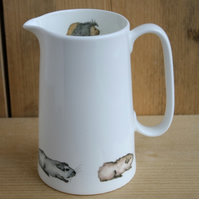 Guinea pig bone china jug - 1 pint size