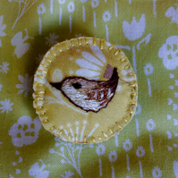 Hand embroidered wren brooch