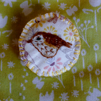 Hand embroidered thrush brooch