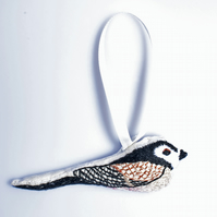Long Tailed Tit   hand embroidered