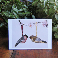 Bullfinch and Greenfinch greetings card
