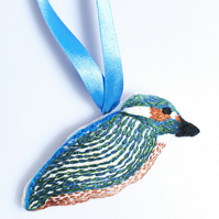 Hand embroidered Kingfisher