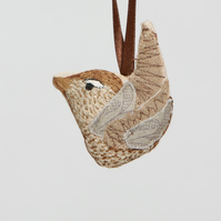Hand embroidered wren