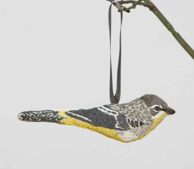Hand embroidered Grey Wagtail