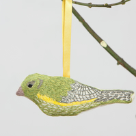 Hand embroidered Greenfinch