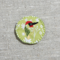 Hand embroidered woodpecker brooch