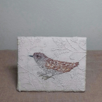 Hand embroidered Dunnock
